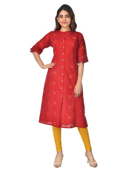 AWAYA WOMEN'S COTTON 3/4 SLEEVE GREY KURTI
