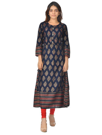 AWAYA WOMEN'S GOLDEN FOIL PRINT FLARED LONG KURTI