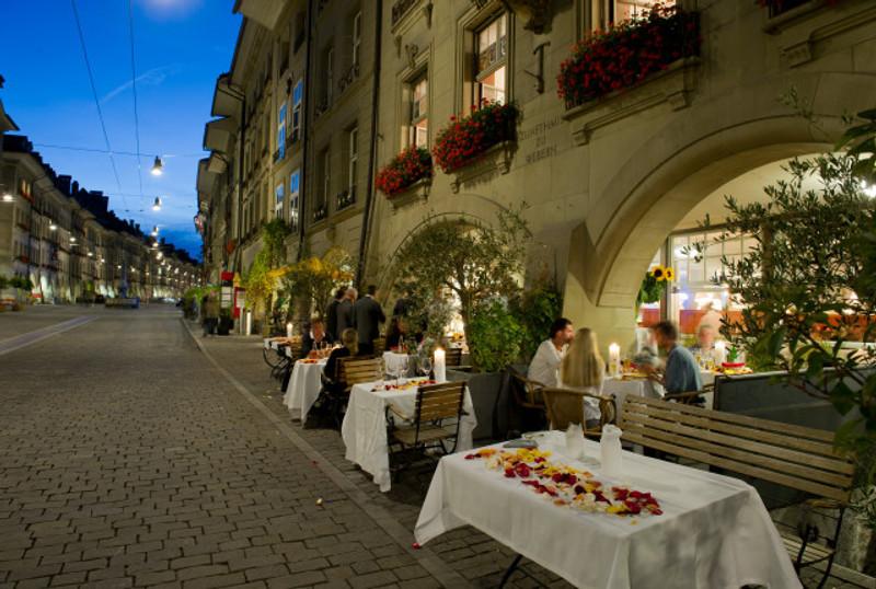 Zunfthaus zur Webern mitten in der malerischen Berner Altstadt.