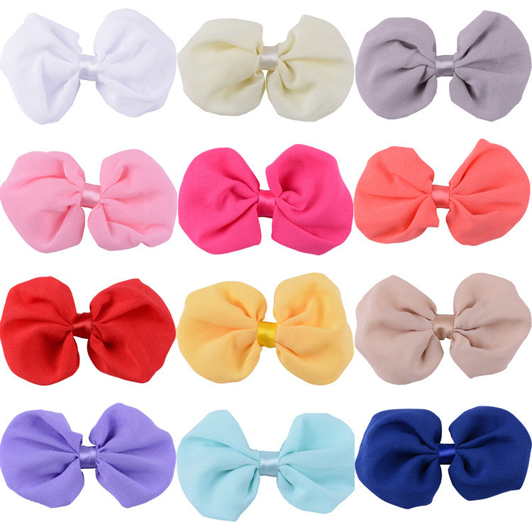 4 Inches Width Solid Color Chiffon Pre Made Bows 13 Colors Available