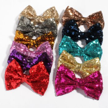 MingRibbon Wholesale Ready Stock Handmade 5″ Sequin Bow 22 colors available