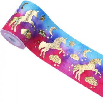 3 inch 75mm wide custom gold foil unicorn printed grosgrain ribbon