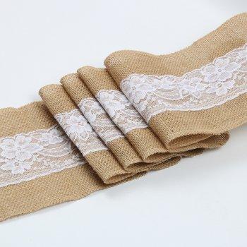 15cm*2m Natural Jute Burlap Ribbon with Lace Trims wholesale