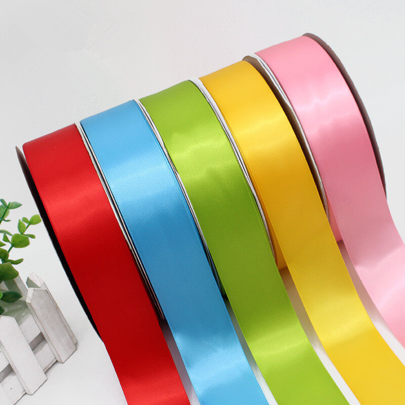 In stock highest-quality 196 colors available 6 to 100 mm width polyester satin ribbon roll (100 yards/roll)