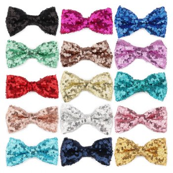 MingRibbon Wholesale Ready Stock 3.5″ Sequin Bow Tie For DIY 15 colors available
