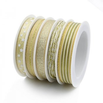 MingRibbon New Arrival 5 rolls/set Gold Christmas Ribbon For Decorations 5 meters/roll