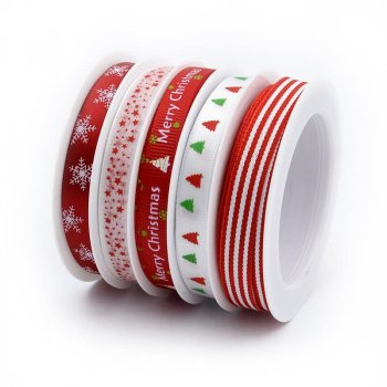 MingRibbon New Arrival 5 rolls/set Red Christmas Ribbon For Decorations 5 meters/roll