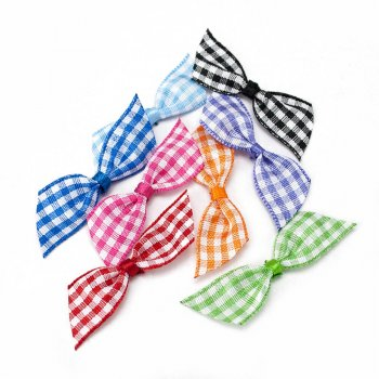 MingRibbon 2 pre made ribbon bows, mini gingham bow, plaid bow for gift decorations