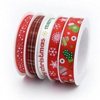 MingRibbon New Arrival 5 rolls/set Red Snowflake Christmas Ribbon For Decorations 5 meters/roll