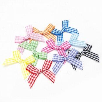MingRibbon custom 4 cm width pre made gingham bow, mini red plaid bow 66 colors