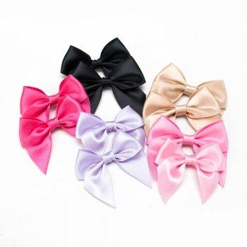 MingRibbon custom 7 cm wide pre made satin bows, self-adhesive ribbon bow 196 colors available