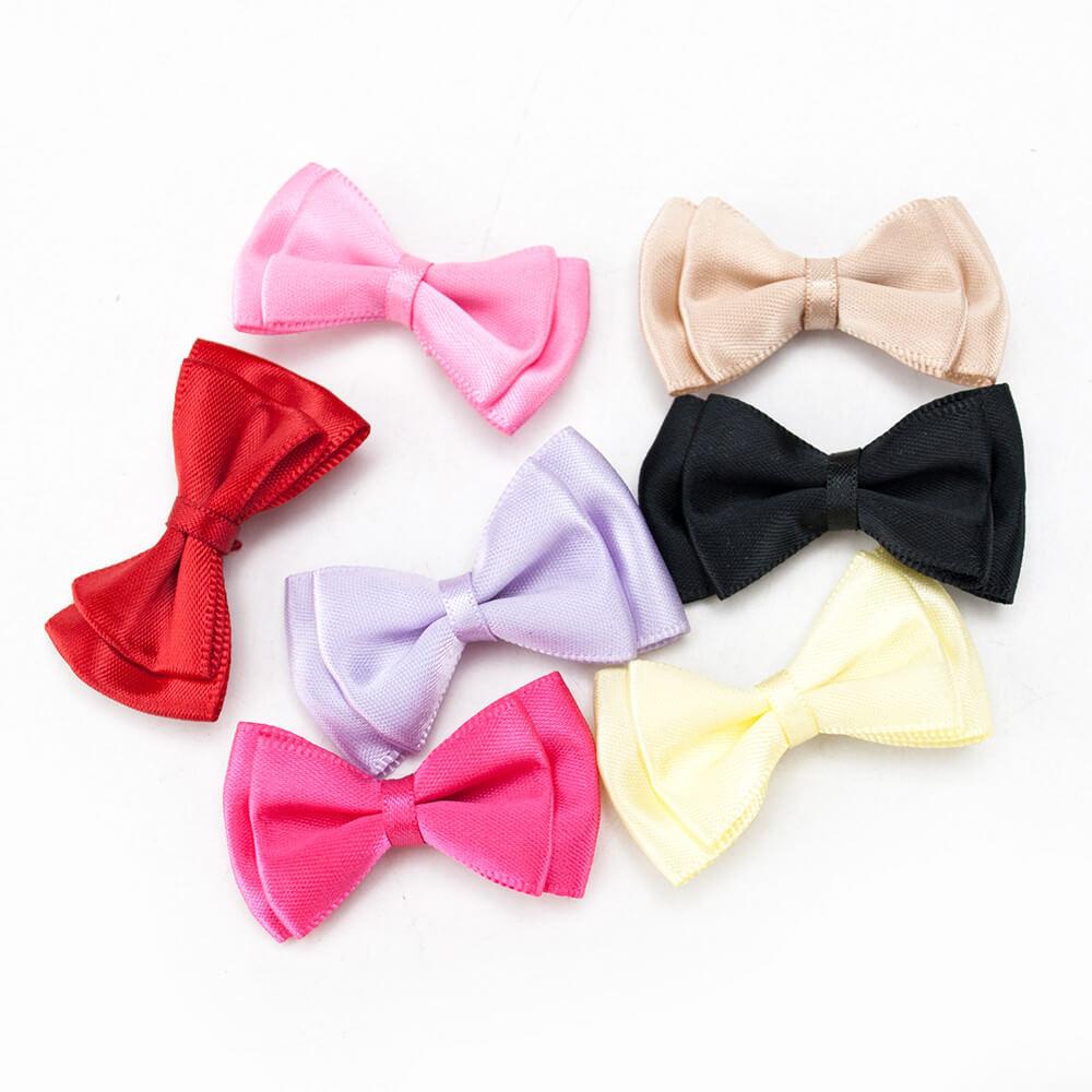 MingRibbon custom double bow, pre made satin bow, handmade ribbon bow for DIY 197 colors available