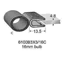 """RUBBER EDGE TRIMS WITH 4.7mm BULB - 4.7mm PANEL (3/16"""")"""