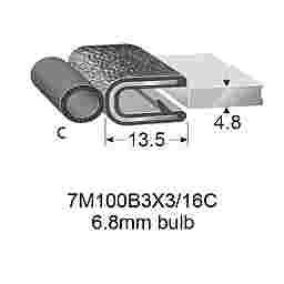 """RUBBER EDGE TRIMS WITH 6.8mm BULB - 4.7mm PANEL (3/16"""")"""