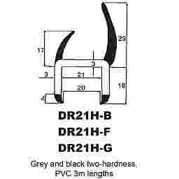 P.V.C SECTIONS - DUROMETER DOOR SEAL - (BLACK/GREY)
