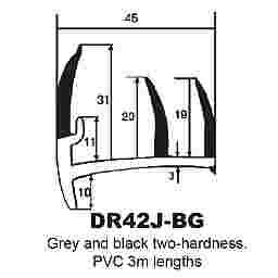 P.V.C SECTIONS - DUROMETER DOOR SEAL - (GREY/D GREY)