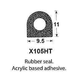 SPONGE RUBBER SEALS - 9.5x11mm