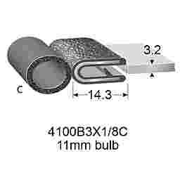 """RUBBER EDGE TRIMS WITH 11mm BULB - 3.2mm PANEL (1/8"""")"""