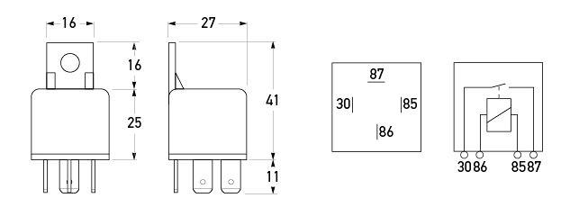 12V 4 Pin Normally Open Mini Relay - 30A