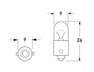 P/N H126, HL126X, HL124, HL124BV and HL244 - All dimensions in mm.