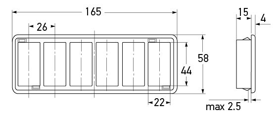 P/N 8HG 713 626-001 - All dimensions in mm.