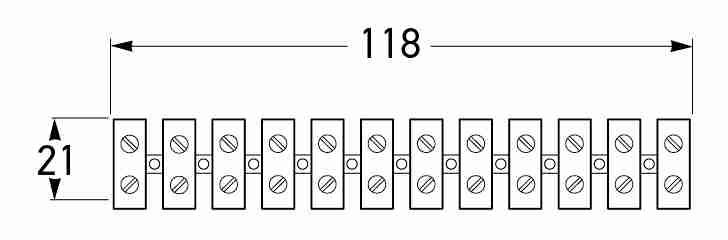 All dimensions in mm. <br> P/N 8452 (Strip of 12 - Cables up to 1.13mm<sup>2</sup>)