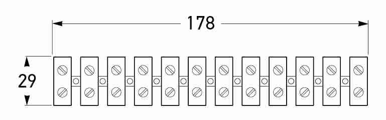 All dimensions in mm. <br> P/N 8454 (Strip of 12 - Cables up to 4.59mm<sup>2</sup>)