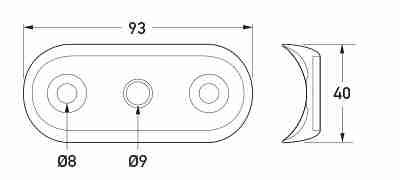 P/N 9GD 958 028-001 (Seal Curved 1x2 Flush Mount) All dimensions in mm.