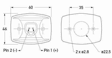 Hole diagram. All dimensions in mm.