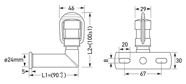 8HG 006 294-111 Connecting Piece Right Angle Mount