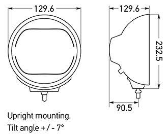 Luminator Driving Lamp Dimensions in mm.