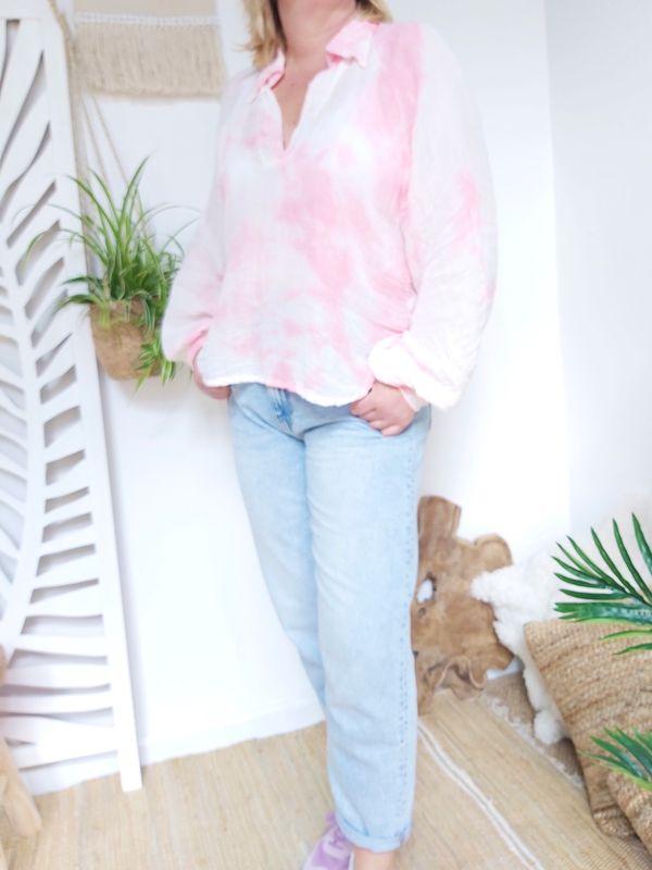 Blouse Olivia tie-dye roze