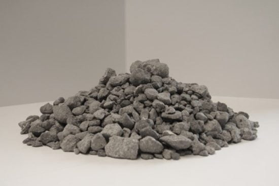 Grey material pile on white background