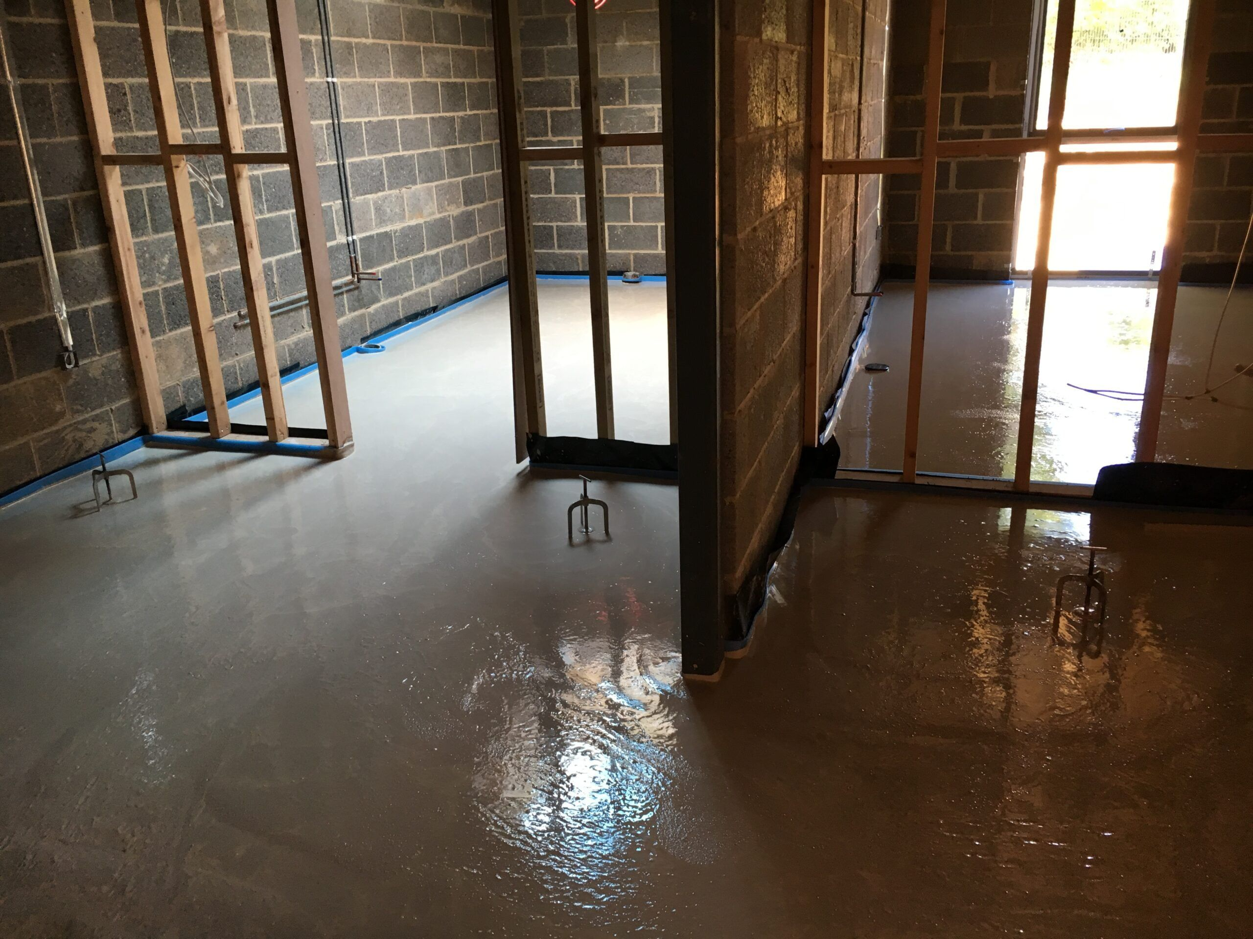 Gypsol floor screed installed on existing wooden floor
