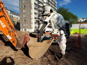 High density concrete pour to overcome hydrostatic pressure, london