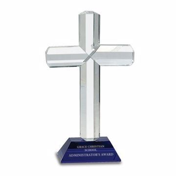 Crystal Cross Blue Base Award | Engraving Included