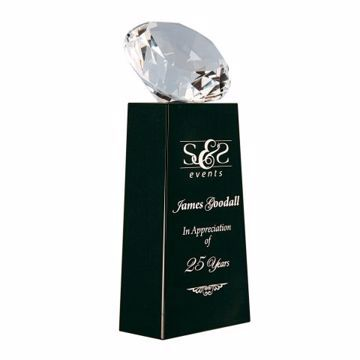 Crystal Diamond Black Pedestal Award | Engraving Included