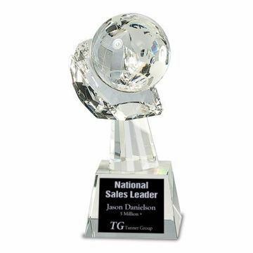 Crystal Globe In Hand Trophy | Engraving Included