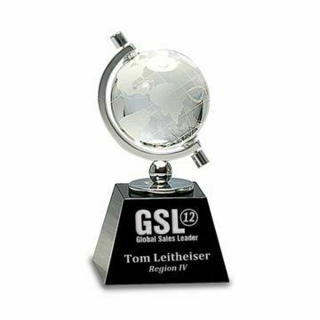 Crystal Globe Black Base Trophy | Engraving Included