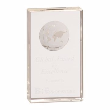Crystal Globe Block Award | 4 Sizes Available | Engraving Included