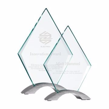 Pinnacle Glass Curve Award | 2 Sizes Available | Engraving Included