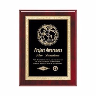 "Black Brass Plate Rosewood Plaque 8"" x 10"" 