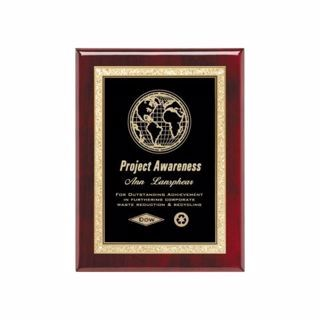 "Black Brass Plate Rosewood Plaque 7"" x 9"" 