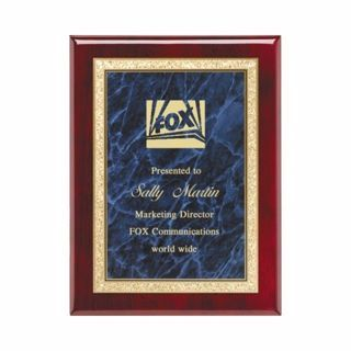 """Blue Marble Plate Rosewood Plaque 8"""" x 10"""" 