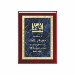"""Blue Marble Plate Rosewood Plaque 7"""" x 9"""" 