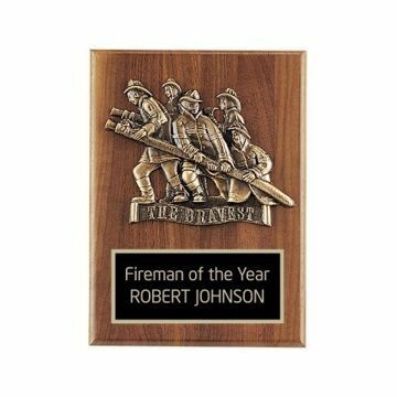 "Walnut Firefighter Plaque 9"" x 12"" 