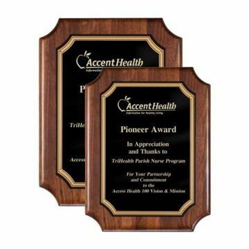 Notched Corner Walnut Plaque | 2 Sizes Available | Engraving Included