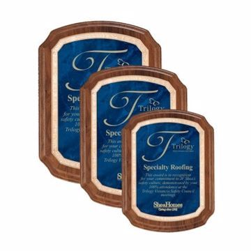 Sapphire Marble Plate Shield Plaque | 3 Sizes Available | Engraving Included