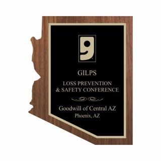 """Solid Walnut Arizona Shaped Plaque 10"""" x 13"""" 