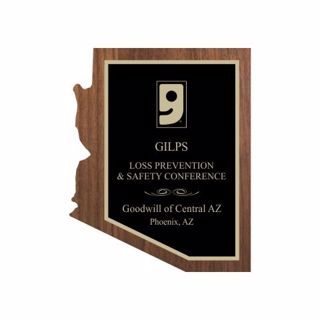"""Solid Walnut Arizona Shaped Plaque 8"""" x 10"""" 